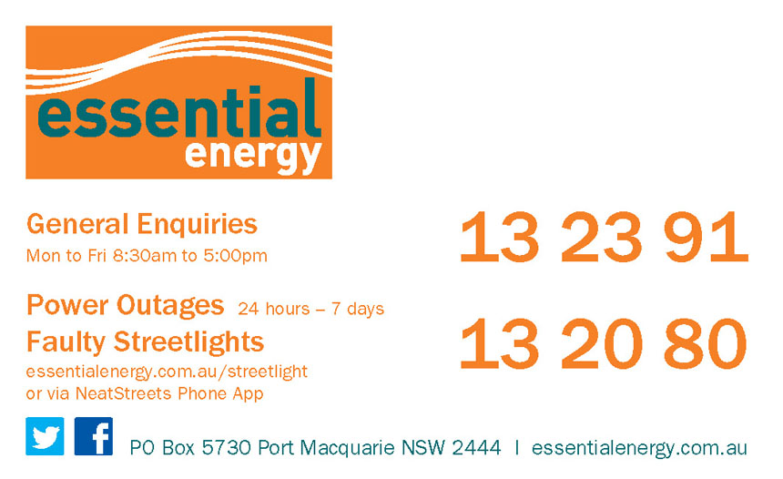 Essential Energy General Enquiries Card